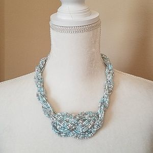 CLASSIC TURQOUISE/SILVER/WHT BEADED KNOT NECKLACE